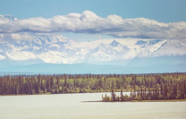 Живописные горы аляски летом. заснеженные массивы, ледники и скалистые вершины.