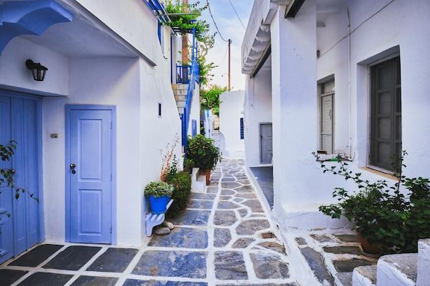 Picturesque naousa town street on paros island greece