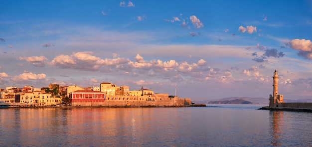 Picturesque old port of chania crete island greece