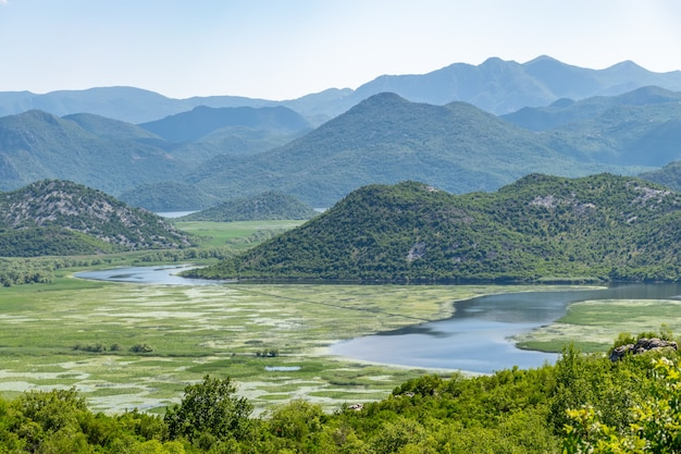 The picturesque river crnojevic flows among the mountains