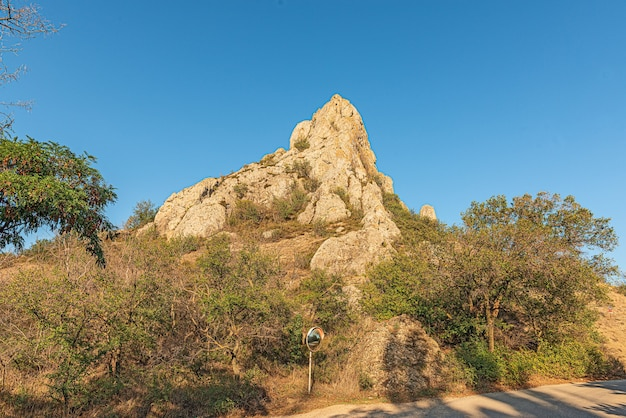 Picturesque rock in the form of a peak