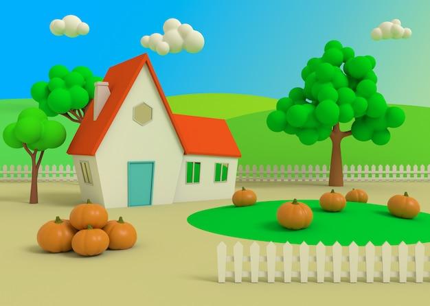 Живописный сельский пейзаж с урожаем в мультяшном стиле, 3d-рендеринг