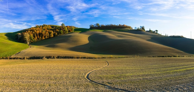 Живописные сельские пейзажи тосканы, крит-сенези, италия