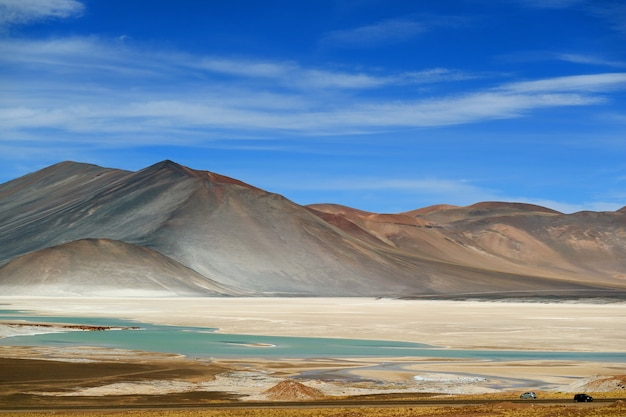 The picturesque salar de talar with mount. cerro medano in background, chile