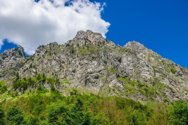 高山の絵のように雪をかぶった山頂。