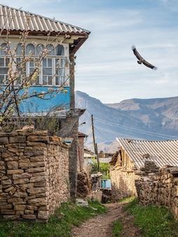 山の村の絵のように美しい通り。ダゲスタンの古い村。ダゲスタン共和国カヒブの村にある田舎の石造りの家。ロシア。