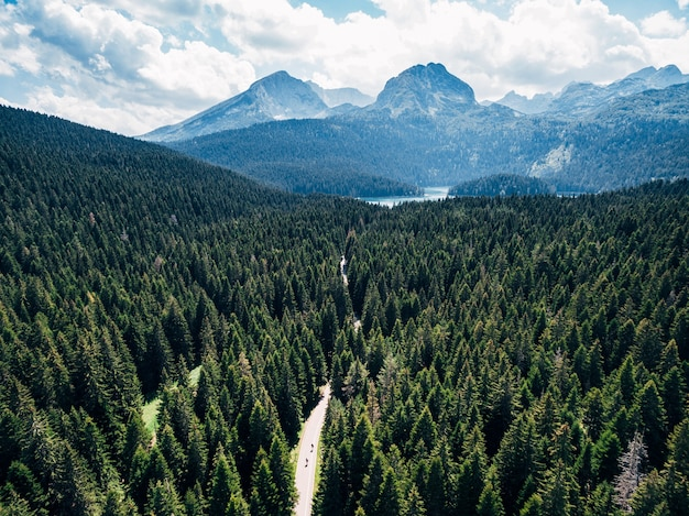 Picturesque top view of nature landscape drone photo