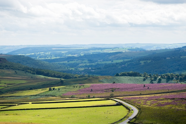 Picturesque view on the hills from stanage edge, england, uk