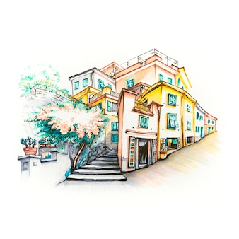 Живописный вид на разноцветные дома в рыбацкой деревне манарола в пяти землях, национальный парк чинкве-терре, лигурия, италия. маркеры с изображением