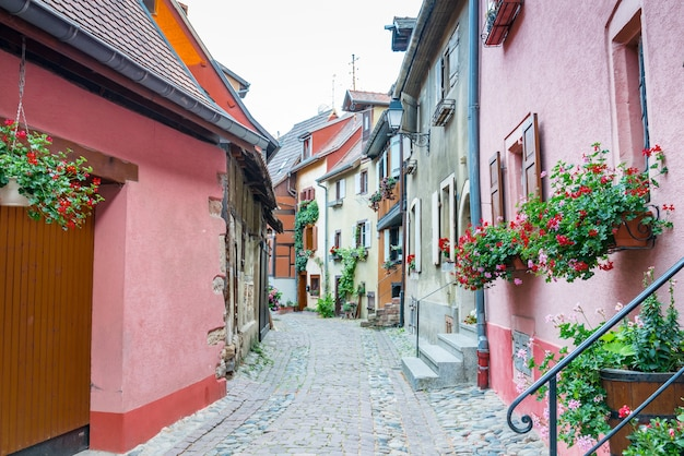 Picturesque view of the quaint town of ribeauville, alsace, france