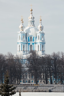 Picturesque view on smolny monastery in saint petersburg russia