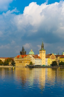 Picturesque view of the vltava river and old town in prague