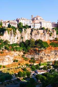 Picturesque view with  houses on rock in cuenca