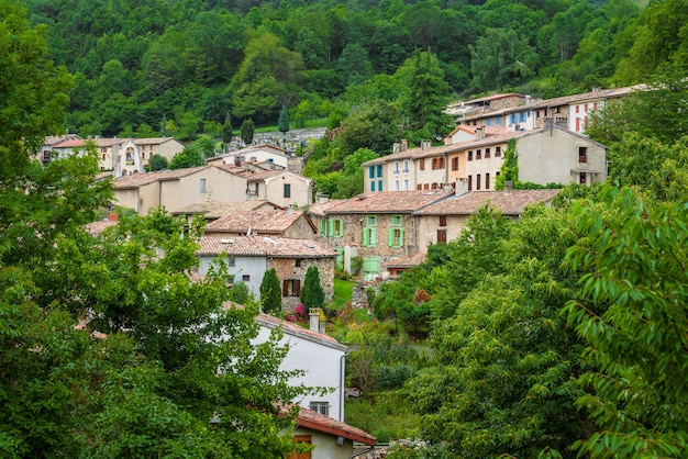 フランスのピレネー山脈モンセギュールの緑豊かな森の美しい村