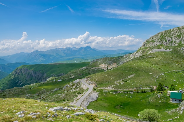 The picturesque village is among the meadows on the high mountains