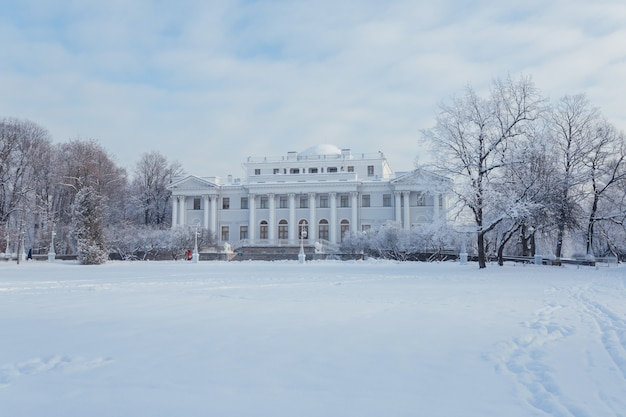 Picturesque white palace in winter saint petersburg.