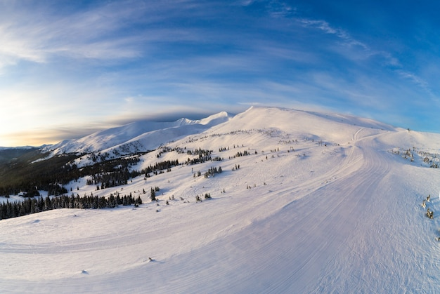 太陽と青い空と晴れた晴れた日に雪とモミの木で覆われた山の丘の美しい冬のパノラマ