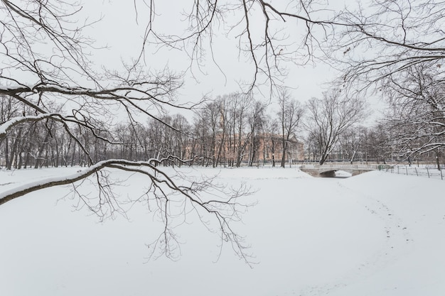 Picturesque winter scenery of snowy park in the centre of saint petersburg, russia.