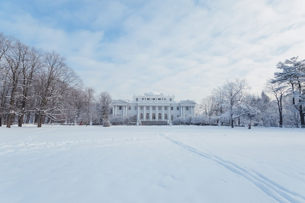 Picturesque yelagin palace in saint petersburg in winter.