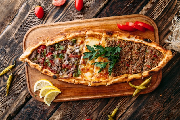 Pide turkish flat bread with ground meat