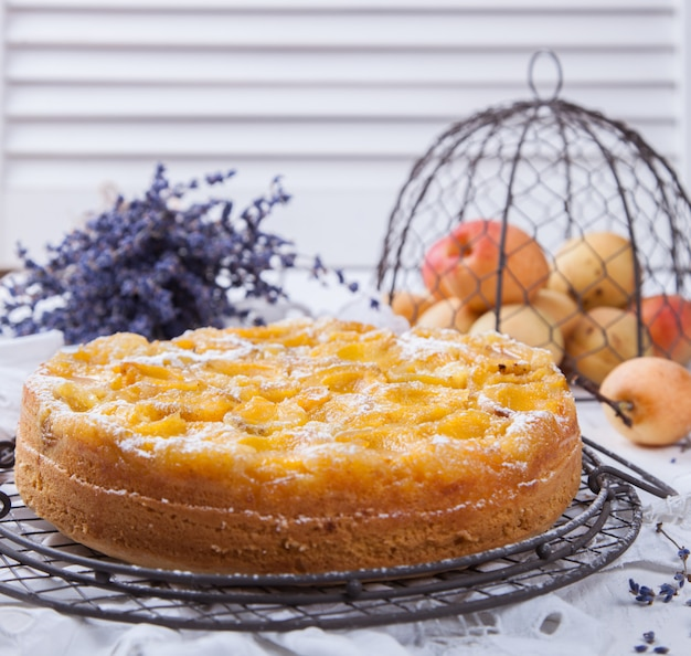 Pie with apricots.homemade cakes,with lavender