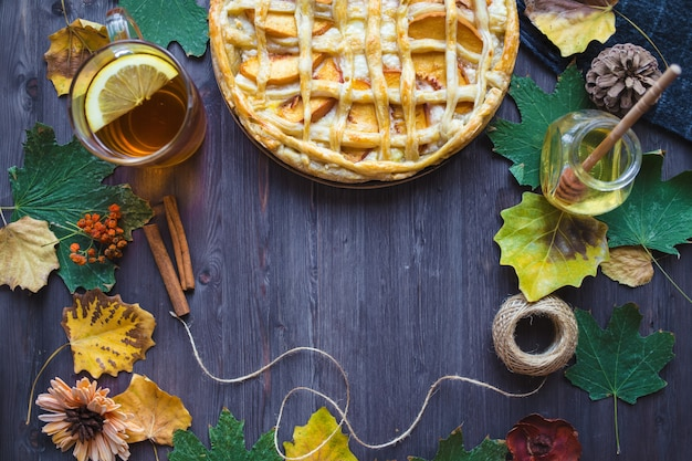 Pie with peaches and pumpkin