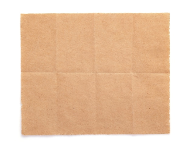 Piece of aged paper texture isolated on white background