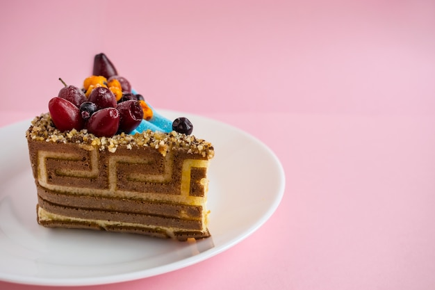 Piece of biscuit patterned cake