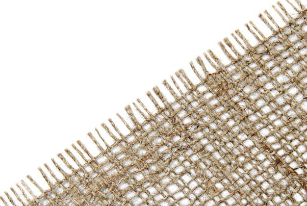 Piece of burlap on a white background