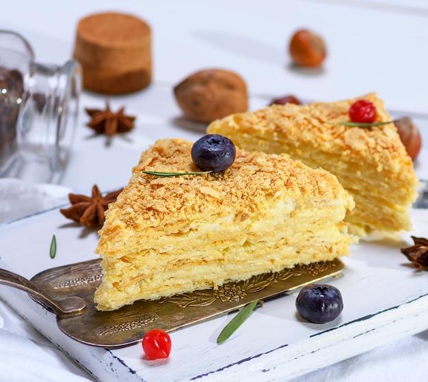 Piece of cake napoleon with cream