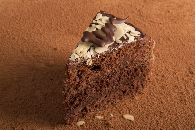Piece of chocolate cake with almond