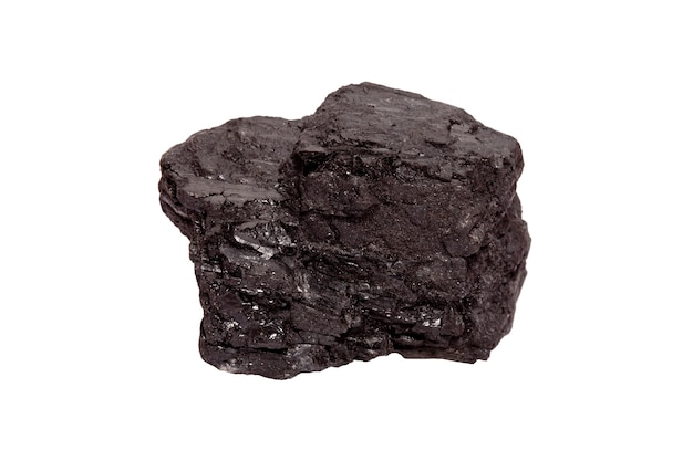 Piece of coal isolated on a white background. fuel for industry
