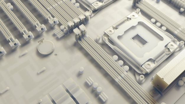 Piece of computer hardware element,  3d render of motherboard circuit