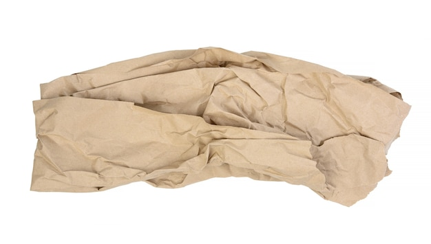 Piece of crumpled brown paper isolated on white background, element for designer, torn edges