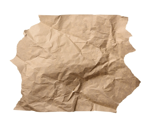 Piece of crumpled brown paper isolated