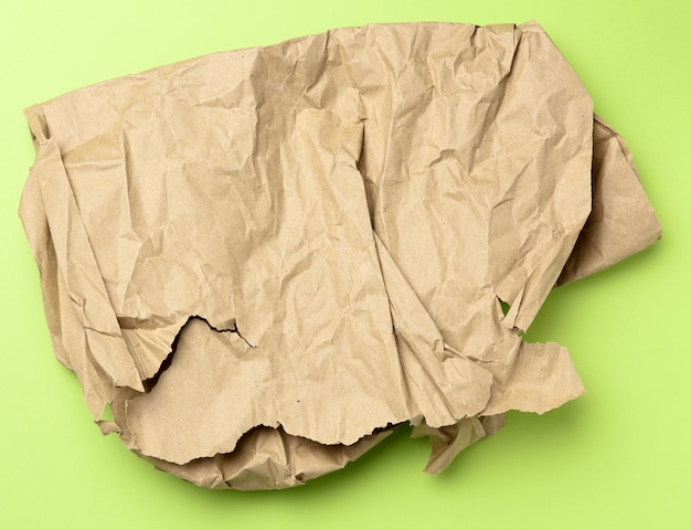 Piece of crumpled brown paper