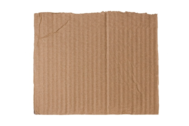 Piece of crumpled cardboard on white background