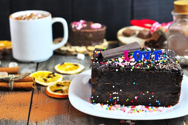 Piece of festive chocolate cake