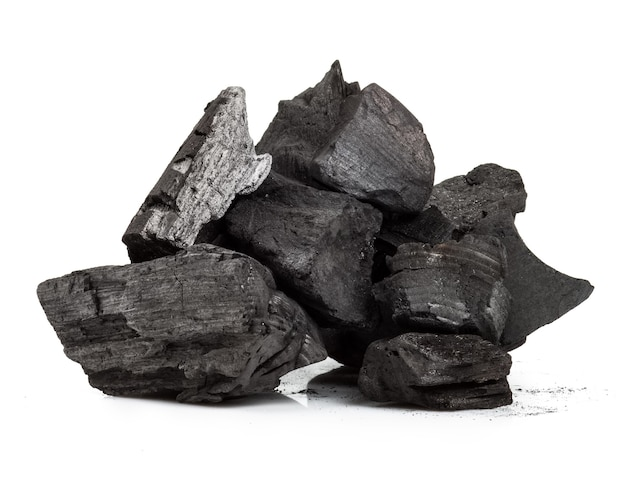 Piece of fractured wood coal isolated