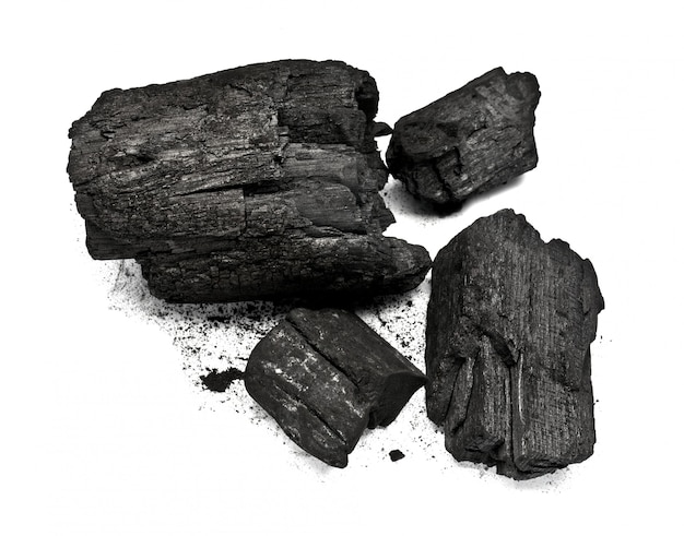 Piece of fractured wood coal