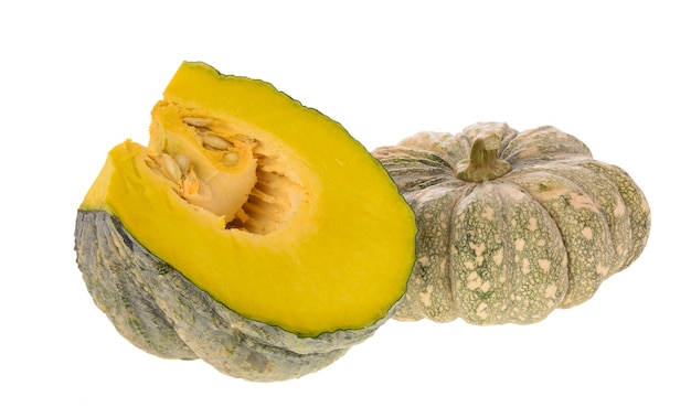 Piece of fresh green pumpkin isolated on white background with clipping path