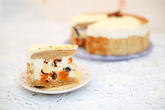Piece of fruit cake, close-up, selective focus
