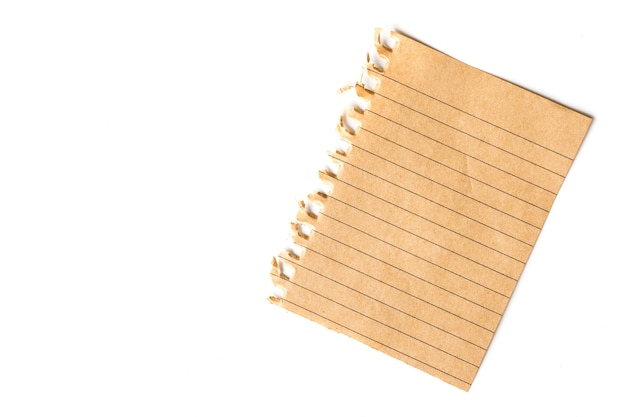 A piece of note paper on a white background. free space for text