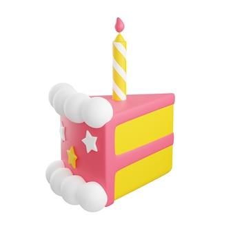 장식과 촛불 3d 렌더링 그림이 있는 생일 케이크 조각. 휴일이나 기념일 축하를 위해 겹겹이 장식된 파이. 달콤한 구운 디저트 흰색 배경에 고립입니다.