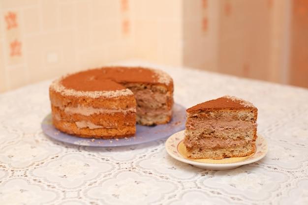 おいしい自家製チョコレートケーキ、クローズアップ