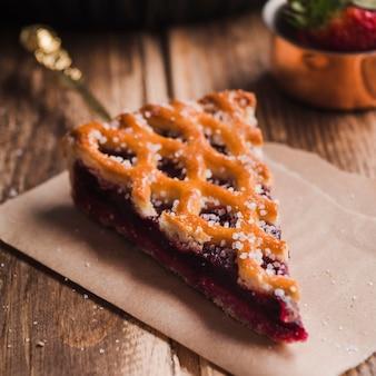 Piece of delicious pie with jam
