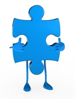 Кусок головоломки, показывая позитивный жест