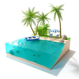 白い背景にヤシの木と海に浮かぶボートのある熱帯の島。休息、リラクゼーションのコンセプト。 3 d イラストレーション