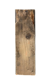 Piece of old gray wooden board isolated on white background, close up