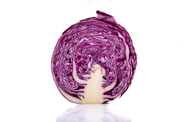 Piece of purple cabbage isolated on a white background